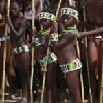 Zulu women and children in Royal Reed Dance Festival